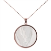 "A round, white, Mother of Pearl Pendant Necklace, perfect for any occasion. Layer it with other Necklaces. Made in Italy by Bronzallure, finished in their 18k Golden Rose' patented plating. Pendant is 1"" in diameter. Chain is 18"" to 16"". Lobster clasp"