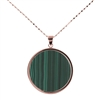 "Style & simplicity, this Green Malachite Pendant is the perfect accent piece. Wear alone, layer with other Necklaces, or double it and wear as a lariat. Open link chain 34"". Made in Italy by Bronzallure. 18k Golden Rose plating. 