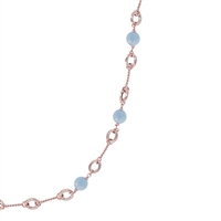 "A classic with Italian flair & style. Unique mix of Rose Gold chain links accented with milky Blue Aquamarine Gemstones. Wear it long, doubled or layered. By BronzAllure, finished in their 18k Golden Rose' plating. Length 36"" Width 3/8"", Lobster Clasp."