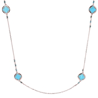 A wonderful classic Necklace with Italian flair & style. Four Flower Medallions of Blue Magnesite set this Necklace off. Designed on Rose Gold chain links that are accented near the medallions with additional Magnesite Beads. A versatile & useful piece.