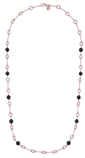 "Italian flair & style.Unique mix of Rose Gold chain links accented with Black Onyx Gemstones.  Wear it long, doubled or layered with other pieces. By Bronzallure & finished in their 18k Golden Rose' patented plating. Lobster Clasp. Length 36"", Width 3/8"""
