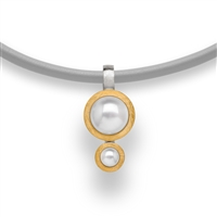 "Beautiful double drop White Cultured Pearl Pendant Necklace in two-tone Sterling Silver - White & Yellow Gold plated. Made in Germany by Bastian it comes on a Grey Leather Cord, 18"" in length."