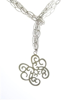 "Three strand laser cut chain link Necklace in White 925 Sterling Silver with a Butterfly as a Pendant drop. The open links have a beautiful reflective quality adding a hint of sparkle. Wear the Necklace long or as a lariat. Rhodium plated.42"" long"