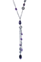 Sterling Silver  Pendant Drop Necklace has a Dark Rhodium finish complimented by  Purple Amethyst Gemstones. Double link Chain & dimensional Filigree Silver Beads add designer style. Made in Italy by Claudio Faccin. Lobster Clasp.