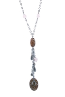 A beautiful, dark Rhodium plated Sterling Silver Y-Necklace is complimented by four Pink Quartz Gemstone faceted beads on the neck Chain and Animal printed Enameled Beads with charms of various shapes on the tassel drop. Made in Italy by Claudio Faccin.