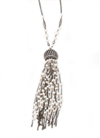 One-of-a-Kind Long Tassel Pendant Necklace by Elissa Illana. Dark Rhodium Sterling chains are enhanced with contrasting White Pearls and Swarovski Crystal elements. The Tassel is 5 Inches in length & 1 inch wide. On a 31 inch chain. Lobster Clasp.
