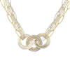 A stunning two-tone Necklace by Frederic Duclos.  The Necklace features three rings at the front in two-tone White & Yellow Gold plated Sterling Silver. Seven chain links create the band and hold the rings, laser cut for reflective quality, and two-tone