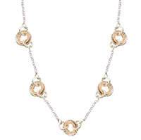 White & Rose Gold Plated Sterling Silver Circle Necklace by Frederic Duclos