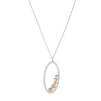 Frosted Silver Oval Pendant with Gold Moon Beads
