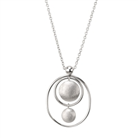 Oval Sterling Silver Pendant Necklace by Frederic Duclos