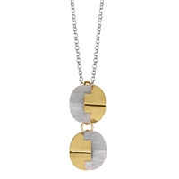 "Double Drop Pendant Necklace. Geometric pieces fit together like a puzzle, done in Brushed Silver & Yellow Gold Plated. Made in 925 Sterling Silver by Frederic Duclos. Pendant Length 1 1/2 inch. Chain 16"" to 18"" adjustable. Matching Earrings available"