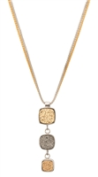 "Frederic Duclos Pendant Necklace features 3 Druzy drops in alternating Gold & Grey, descending in size. It has a double chain - one in Silver & one in Yellow Gold plated. Made in 925 Sterling Silver. Pendant L 2"" X W 5/8"". Chain 16"" to 18"" adjustable."