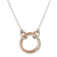"""Infinity"" Ring Necklace by Frederic Duclos  holds 3 Rings, laser cut, two in White Sterling & one in Rose Gold Plated. You have to love the simplicity of this Sterling Silver Pendant. Pendant 3/4"" diameter. Chain 17"" to 19"" adjustable."
