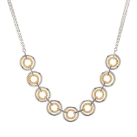 White & Yellow Gold Plated Sterling Silver Circle Necklace by Frederic Duclos