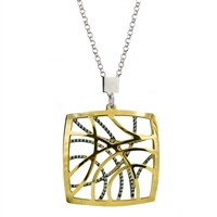 "This dimensional Pendant back piece is White Sterling Silver laser cut to appear as if there are gems inlaid. The beveled, Yellow Gold Plated over piece, creates a window affect. By Frederic Duclos. Pendant 1 1/4"" square. Chain 16"" to 18"" adjustable"