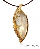 "One-of-a-Kind piece by designer Frank Ruebel. Crafted in 14k Yellow Gold, the center Gemstone is a 27ctw Golden Rutilated Quartz. It is framed on one side with .63ctw Diamonds, and on the other with .50ctw Garnets. L 2 1/2"" X W 1"". Pendant Only"