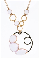 Designer Pink Quartz & Diamond Pendant Necklace in 18K Gold