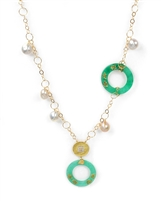 A stunning Green Jade Disc, Baroque Pearl & Diamond Necklace high with Asian influence. The Jade Discs are enhanced with Oriental Letters and the Golden Disc Pendant has 0.13ct Diamonds Pave set. Made in 18k Yellow Gold by Leaderline. Lobster Clasp.