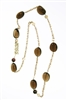 "Long 18k Yellow Gold Chain Necklace with 272ctw of Smokey Quartz & Citrine Gemstones. Bonjour, written in Gold with a small Diamond drop & two Bronze Pearls add Italian style. The chain is substantial with floating links. Lobster clasp. L 32"" X W 3/4"""