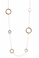 Long 18k Rose Gold Chain Necklace, large Gold Hoops, bezel set Pink Quartz, Green Amethyst & Purple Amethyst Gemstones. Asymmetrical, it can be worn long, doubled or layered with other pieces. Made in Italy by Zoccai.