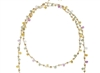 "Multi-colors of pastel Sapphire Gemstones. Shades of pink, blue, yellow & lavender blend harmoniously. Made in 14k Gold Filled Chain by Mabel Chong, San Francisco. Can be worn long or doubled. L 34"" to 36"" adjustable."
