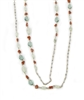 Extra long Beaded Necklace can be worn multiple ways. Filled with soft Green Fluorite & Moonstone Gemstones that accented with the red of Coral Beads. The Sterling Silver chain is accented with small Pyrite Beads for a hint of sparkle.  Length 76 inches