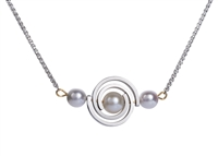 White Pearl Spiral Pendant Necklace in Sterling Silver