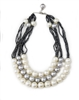 White & Grey Pearl Necklace with Hematite, 18K Gold