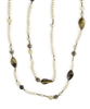 "Long Cream Pearl Necklace with Tiger Eye, Citrine & Agate Gemstones of various shapes & sizes. A touch of Copper Hematite Beads are added for a little sparkle. No Clasp. 47"" in length. Made in Italy by Rajola."