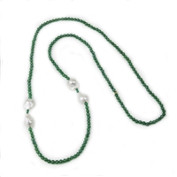 "A striking Emerald Green Agate Necklace by Rajola. The faceted Gemstones sparkle in perfect contrast to the four large, lustrous White Baroque Pearls that add accent. Wear it long or doubled. Made in Italy. Length 46"". No latch"