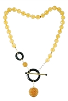 Gold Citrine & Black Onyx Gemstone Necklace by Rajola, 18k Gold