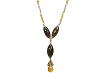 "A beautiful Barrel Labradorite Gemstone Necklace. Center drop features a barrel cut Labradorite and a single Citrine with a cluster of Green Sapphires. The chain is Gold Filled Sterling with Citrine. Lobster Clasp. Made in U.S. Length 18"", Drop 1 3/4"""