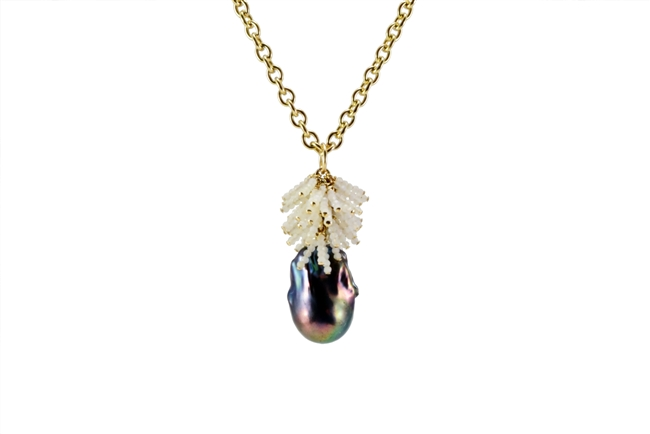 "Beautiful long Pearl Pendant Necklace. A large Baroque Peacock Pearl is crowned with a cascade of White Opal gemstones. Wear it with a ""T"" or your little Black Dress. Made in the U.S. by Silver Pansy. 24 inch Gold Filled Sterling Chain,"