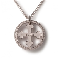 "Tuum's best expression of their passion for craftsmanship can be found in the ""mini"" version of FLORE-symbol of life, in 18kt White Gold, with the micro sculpture Latin relief of ""Pater Noster"" (Lords Prayer) on the outer ring"
