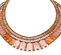 this statement Necklace in various shades of Pink & Peach is sure to get noticed as it is the Color of the Year. Morganite, Moonstone & Orange Zircon Gemstones compliment each other. Accented with White Water Pearls and Murano Glass Seed Beads