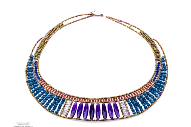 A stunning Designer Bib Necklace by Ziio features large polished Amethyst Gemstones, accented with Blue Lapis & Rust Red Carnelian Gemstones. Sterling Silver & Murano Glass Beads frame & define. 925 Sterling Silver Button Closure, adjustable length.
