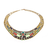 beautiful Art-to-Wear Statement Bib Necklace by Ziio. Done in Carnelian, Chrysoprase, Lapis, Zircon & Blue Agate Gemstones with Hematite & Murano Glass Beads. Beaded on Stainless Steel wire. 925 Sterling Silver Button Closure