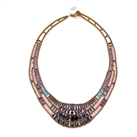beautiful Art-to-Wear Statement Bib Necklace. Done in Lapis, Amethyst, Spinel, Zircon & Agate Gemstones with Hematite & Murano Glass Beads. Beaded on Stainless Steel wire. 925 Sterling Silver Button Closure adjustable in length. Hand crafted in Italy