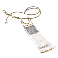 This extra long Tassel Pendant Necklace is done in the soft hues of Silver, White & Gold. Mother of Pearl Beads, White Water Pearls & shimmering silver Labradorite Gemstones. Hand crafted in Italy on stainless steel wire with Golden Murano Glass Beads