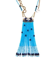 This extra long Tassel Pendant Necklace is done in a harmonious blend of various Blue Gemstones. Blue Zircon, Lapis, Kyanite & Apatite accented with Black Spinel & White Water Pearls. Hand crafted in Italy on stainless steel wire with Murano Glass Beads.