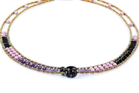 Ziio's thin beaded Giro Necklace in various hues of Violet & Black Gemstones - Amethyst, Violet Zircon, Black Onyx & Phosphosiderite. A great beaded piece to add a subtle touch of color. Hand crafted in Italy on Stainless Steel wire.