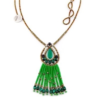 Green Malachite & Spinel Tassel Pendant by Ziio