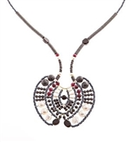 From Ziio's Aki Collection, this is a beautiful Art-to-Wear long Statement Pendant Necklace. Done in Black Onyx, Spinel, Zircon & Garnet Gemstones with White Water Pearls, Hematite & Murano Glass Beads. Beaded on Stainless Steel wire.
