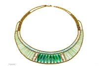 Hand crafted in Italy, cylindrical Green Onyx Gemstones are what sets this piece apart. They are framed by Blue Amazonite & Green Aventurine Gemstones and accented with Sterling Silver Beads. Art-to-Wear Statement Necklace