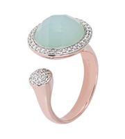 Open Top Green Chalceony Gemstone Ring.  The Green faceted Cabochon is framed by a pave of White Cubic Zirconia. Accented by smaller bead Pave CZ's to the side. Made in Milan by Bronzallure, patented 18k Golden Rose plating. size7