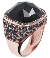 Stunning checkerboard Black Onyx Gemstone Ring by Bronzallure. The faceted Gemstone is framed by a pave of Blue Cubic Zirconia. The Band is inlaid with Black Onyx & Blue CZ.  Made in Italy, finished in a Golden Rose' 18k plating. Size 7