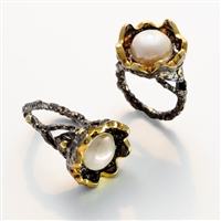 Black Sterling, 18k Gold & White Pearl Ring by Brenda Smith