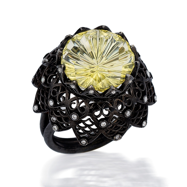 Amazing Ring from Brenda Smith's Lace Collection. The special Starbrite cut Lemon Citrine (8.41ctw) she used,by award winning John Dyer, is accented with round brilliant cut Diamonds 0.14ctw and set in 18k Gold w/ Black Rhodium. Size 7. Can be re-sized.