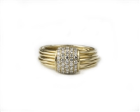 Pave White Diamond Ring in 18K Yellow Gold