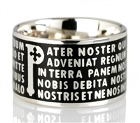 "The Animae collection by Tuum is the Sterling Silver rhodium plated version of their ring creations. This is the ""Pater"" with the Pater Noster (Our Father) Latin text written in relief in over five lines. Crafted in 925 Sterling with black enamel overlay"